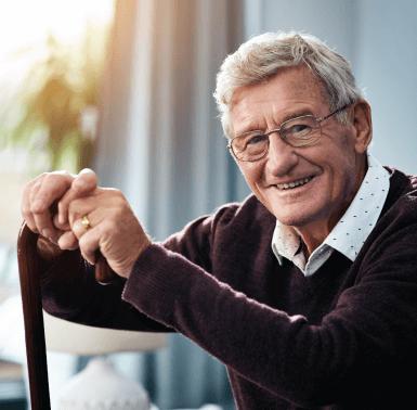 Nice Senior Man with Cane